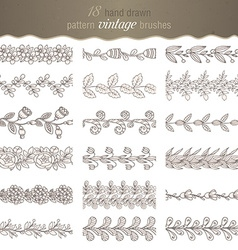 Set of 18 hand drawn pattern floral brushes vector