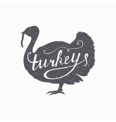 Hand drawn farm bird hipster silhouette turkey vector