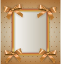 Background with bow cream frame vector