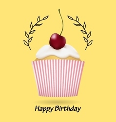 Happy birthday greeting card with cute cupcake vector