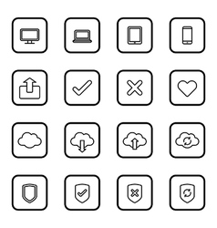 Black line web icon set with rounded rectangle fra vector