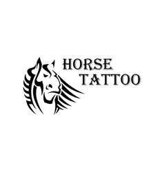 Tribal horse head tattoo with heavy draft stallion vector image