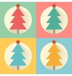 Christmas new year tree flat design icon set vector