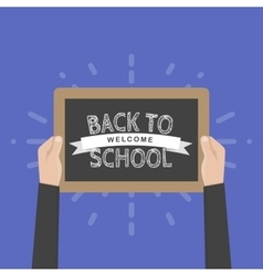 Hand holding sign back to school vector