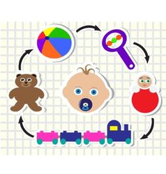 baby and toys vector image vector image