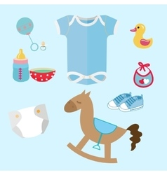 Baby stuff and toys icon set collection romper vector