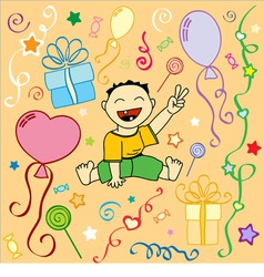 babys birthday holiday texture in vector vector image