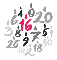 Birthday candles numbers vector