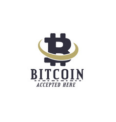Bitcoin accepted emblem crypto currencies label vector