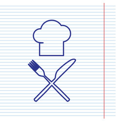 Chef with knife and fork sign navy line vector