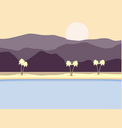 coast with palm trees and mountains in background vector image