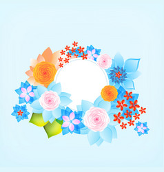 Color round frame with flowers vector