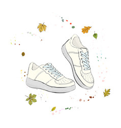 comfortable casual white sneakers shoes on the vector image vector image