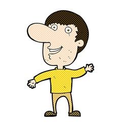 Comic cartoon waving man vector