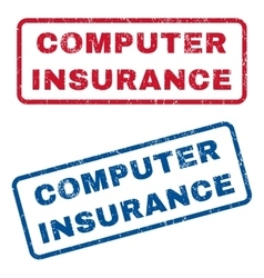Computer insurance rubber stamps vector