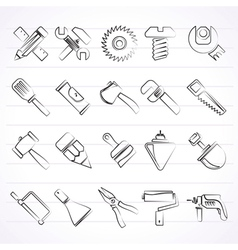 Construction tools object icons vector