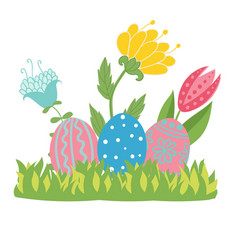 easter eggs in green grass with flowers isolated vector image