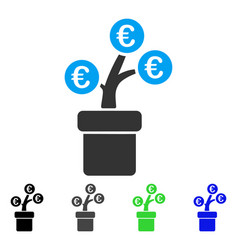 Euro tree pot flat icon vector