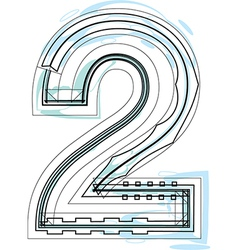 Font NUMBER 2 vector image vector image