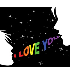 Gay couple and words of love vector