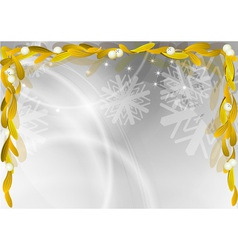 gold mistletoe on the christmas background vector image
