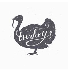 Hand drawn farm bird hipster silhouette turkey vector