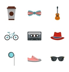Hipsters icons set flat style vector