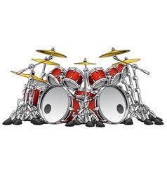 huge 10 piece rock drum set vector image