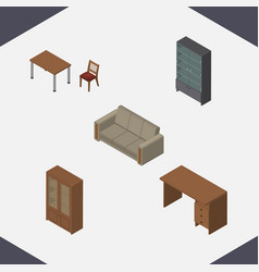 isometric furniture set of sideboard chair vector image