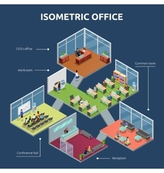 Isometric office 3 floor building plan vector