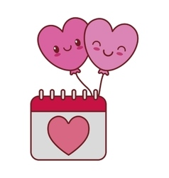 Kawaii love calendar heart balloons valentine vector