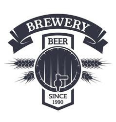 Keg beer Brewing vintage emblem vector image vector image