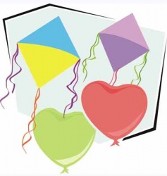 kite and balloons vector image vector image