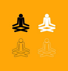 man yoga stick set black and white icon vector image vector image