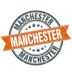 Manchester red round grunge vintage ribbon stamp vector