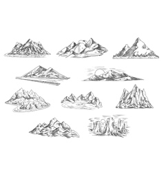 Mountain landscapes sketches for nature design vector