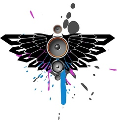 music with wing and blot vector image vector image