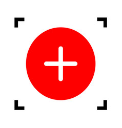 Positive symbol plus sign red icon inside vector