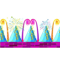 Seamless party hats and horns vector image