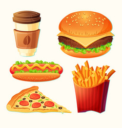 set of cartoon fast food icons vector image