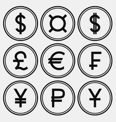 Set of monochrome coin-like icons vector