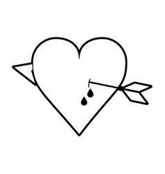 Sketch silhouette image heart pierced bleeding out vector