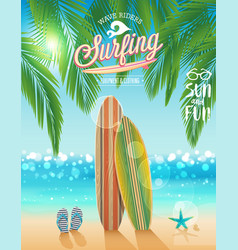surfing poster with tropical beach background vector image