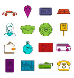 taxi icons doodle set vector image