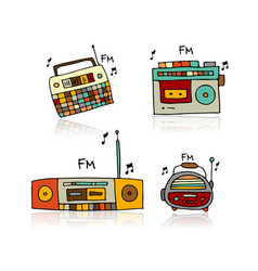 Vintage radio set sketch for your design vector