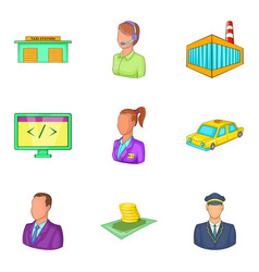 Wage-earner icons set cartoon style vector