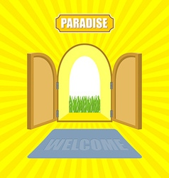 Welcome to paradise Open gates of paradise gardens vector image
