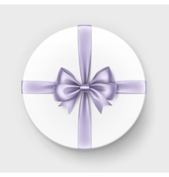 White gift box with lilac bow on background vector