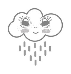 White kawaii happy cloud raining with big eyes and vector