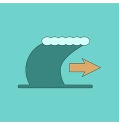 Flat icon stylish background tsunami movement vector